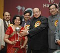 The Union Minister for Textiles, Shri Shankersinh Vaghela giving away the Top Export Award 2003-04 to Oswal Exports, Agra in the category of Marble, Alabaster and Crafted Stone, in New Delhi on December 29, 2006.jpg