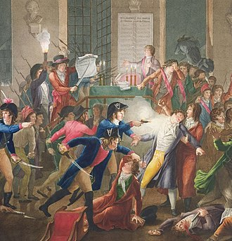 The arrest of Maximilien Robespierre and his followers showing at the centre of the image gendarme Merda firing at Robespierre (colour engraving by Jean-Joseph-Francois Tassaert after the painting by Fulchran-Jean Harriet, Carnavalet Museum) Shot.jpg