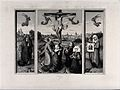 The crucifixion of Christ; the three Maries lament. Etching Wellcome V0034789.jpg