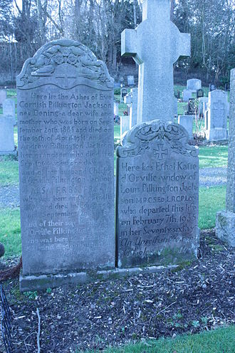 Pilkington Jackson - The grave of Pilkington Jackson and family next to his parents' grave, Lasswade, Midlothian.