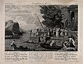 The prodigal son returns home by boat to a large party. Etch Wellcome V0034947.jpg