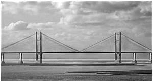 Second Severn Crossing - The Shoots Bridge; the shipping channel lies between the two towers
