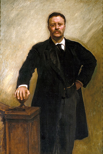 Theodore Roosevelt, 1903. Sargent had Roosevelt hold his pose when he turned around with impatience to address the artist while they were walking around the White House surveying possible locations for the portrait. Theodore Roosevelt by John Singer Sargent, 1903.jpg