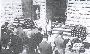 Thomas C. Wasson - Funeral of Thomas C. Wasson and US Naval Officer Herbert C. Walker, Santa Maria Convent of the Sisters of the Holy Rosary, Jerusalem, May 1948; photo taken by John Roy Carlson