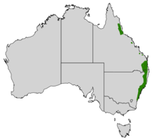 Map of Australia with green range marked down most of the eastern coast of New South Wales, and some disjoint areas on the coast of Queensland.