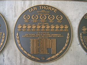 Ian Thorpe - Plaque of Ian Thorpe Outside Sydney Olympic Park Aquatic Centre.