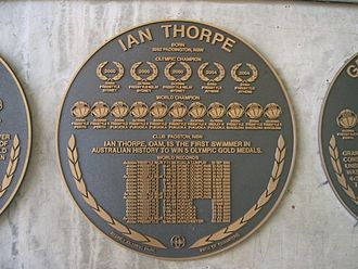 Ian Thorpe - Plaque of Ian Thorpe Outside Sydney Olympic Park Aquatic Centre.