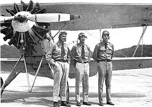 Frederick M. Trapnell - The Three Flying Fish, Naval Air Station Anacostia, 1930. Trapnell is on the right. US Naval Historical Center