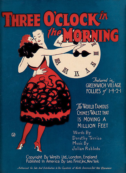 Three O' Clock in the Morning sheet music cover (1921) Three O' Clock in the Morning sheet music cover (1921).jpg