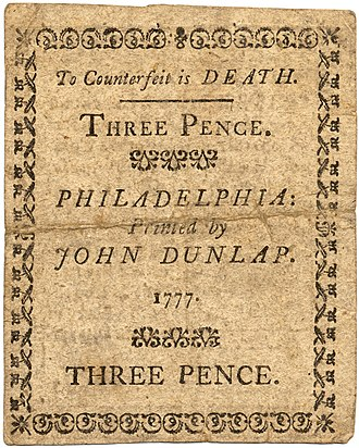 John Dunlap - Three pence note, printed by John Dunlap, Philadelphia, 1777