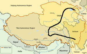 Susanna Carson Rijnhart - Susie Rijnhart's route in 1898, starting in the north and ending in Kangding