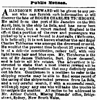 Tichborne case - August 1865 advertisement in The Argus seeking information as to Tichborne's fate.