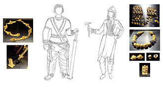 Tillya Tepe - Reconstitution of two members of the Tillya Tepe burial, with corresponding artifacts: man (r. tomb IV) and woman (l. tomb II).