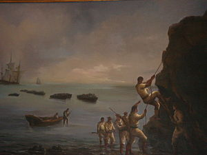Coastal fortifications of colonial Chile - A painting on the landings of Thomas Cochrane previous to the rebel assault on the Valdivian Fort System.