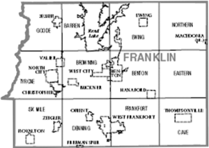 Map of Franklin County, Illinois.