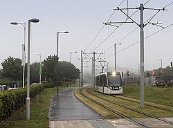 Tram approaching the Gyle Centre (geograph 4080638).jpg