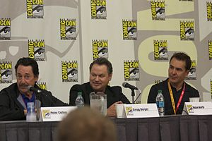 Transformers: Fall of Cybertron - Peter Cullen, Gregg Berger, and Nolan North at the Fall of Cybertron panel at the 2012 Comic-Con International.