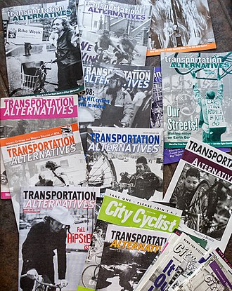 Transportation Alternatives - A collection of Transportation Alternatives and City Cyclist magazines which were sent to members, from the late 1990s.