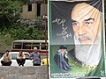 Trio of Men with Ayatollah Khomeini Banner - Masouleh - Northwestern Iran (7420175944).jpg