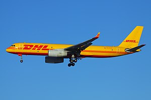 DHL Aviation - A Tupolev Tu-204C operated for DHL by Aviastar-TU at Sheremetyevo International Airport in Moscow, Russia.