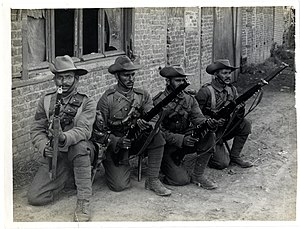39th Garhwal Rifles - Typical Garhwal riflemen (Estaire La Bassée Road, France). Photographer- H. D. Girdwood. (13875264813)