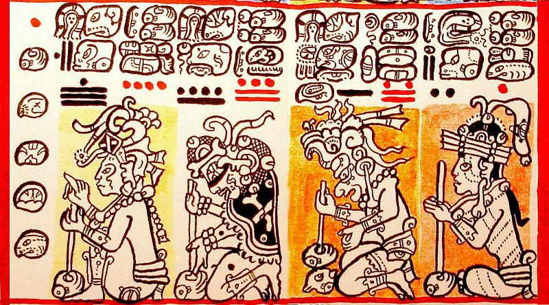 Datei:Tzolkin-Abschnitt im Codex Dresdensis, beginnend mit dem Tag 1 Manik´. Gezeichnet von Lacambalam..jpg
