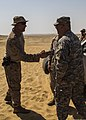U.S. Army Maj. Gen. Robert Catalanotti, right, shakes hands with Marine Corps Master Sgt. Daniel Bogart during his visit to observe Marines training in support of Eagle Resolve 2013 in Al Galail, Qatar 130429-M-HF949-009.jpg