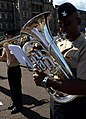 U.S. Navy Musician 2nd Class Willie Brandon, with the U.S. Naval Forces Europe Band, rehearses for the Royal Edinburgh Military Tattoo in Edinburgh, Scotland, July 31, 2012 120731-N-VT117-1023.jpg