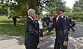 U.S. Secretary of Defense Chuck Hagel shakes hands with President Barack Obama as he arrives to join Hagel in honoring the nation's fallen service members during the annual Memorial Day observance at Arlington 130527-D-NI589-156.jpg
