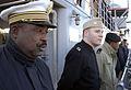 U.S. and African sailors man the rails as amphibious transport dock ship USS Nashville (LPD 13) departs Naval Station Norfolk, Va 090115-N-NL531-280.jpg