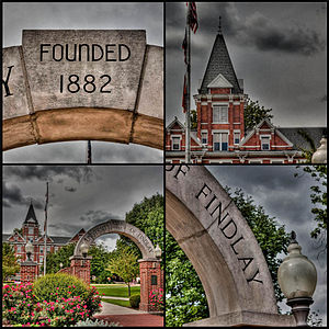 Findlay Oilers - Griffith Memorial Arch and Old Main