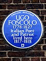 UGO FOSCOLO 1778-1827 Italian Poet and Patriot lived here 1817-1818.jpg