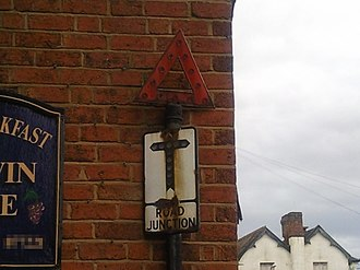 Road signs in the United Kingdom - Old style T-junction sign still in use in Stourport-on-Severn, Worcestershire