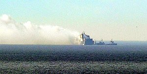 Turkish ship UND Adriyatik on fire.