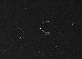 Thuraya - Thuraya 2 and a second nearby geostationary satellite, photographed on 8 December 2010 from the Netherlands