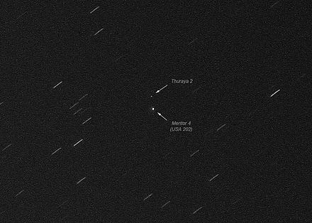 Thuraya 2 and a nearby geostationary satellite, photographed on 8 December 2010 from the Netherlands USA202 Thuraya2.jpg