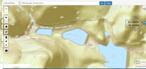 Gap (landform) - Image: USGS National Map viewer after GNIS finding Kittaning Gap, Pennsylbania near Altoona, PA and showing the PRR Horseshoe Curve