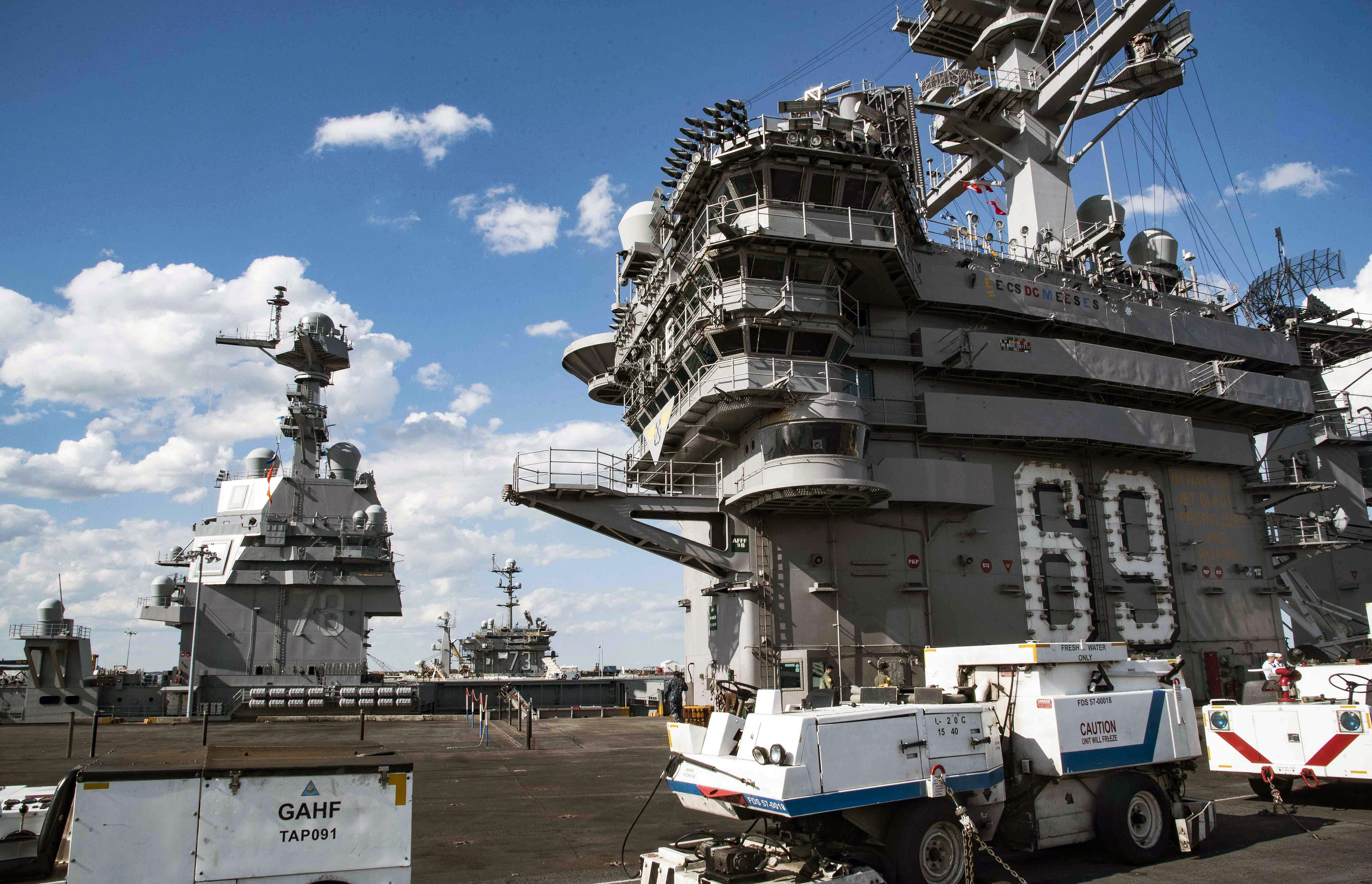 USS Dwight D. Eisenhower, USS Gerald R. Ford and USS George Washington sit pierside at Naval Station Norfolk. (33764098403).jpg