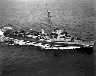 Action of 13 May 1944 - USS Francis M. Robinson in the Atlantic on 2 February 1944.