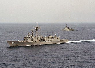 USS Simpson (FFG-56) - Simpson and Algerian frigate El Kirch, June 2006, after removal of missile launcher.