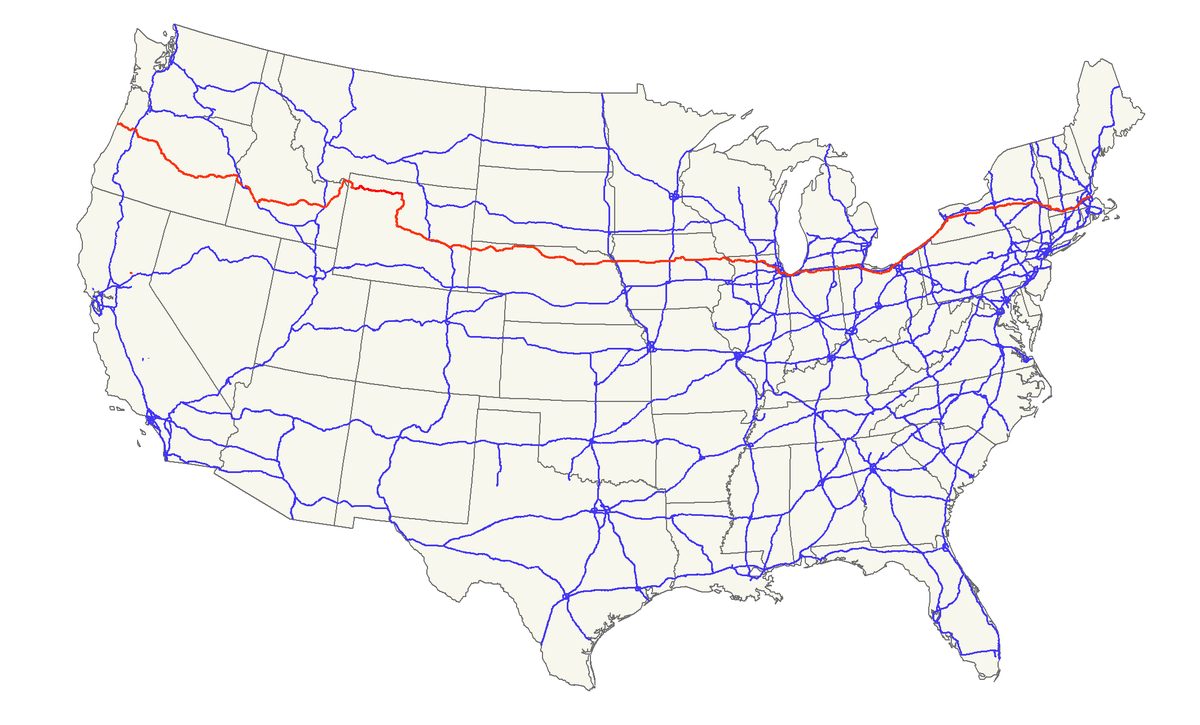 US Route  Wikipedia - Usa road map distances