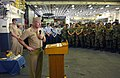 US Navy 031007-N-2420K-006 Vice Admiral Gerald L. Hoewing, Chief of Naval Personnel, answers personnel retention questions from sailors serving on the USS Essex (LHD 2).jpg