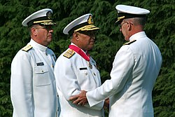 US Navy 040721-N-2383B-066 Adm. Shahid Karimullah, Chief of Naval Staff, Pakistan Navy is presented the Legion of Merit from Adm. Vern Clark, Chief of Naval Operations (CNO).jpg