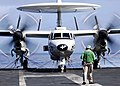 US Navy 041207-N-4166B-049 An E-2C Hawkeye places engines in full military aboard the Nimitz-class aircraft carrier USS Abraham Lincoln (CVN 72) prior to flight operations.jpg