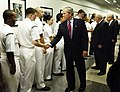US Navy 060814-F-0193C-019 President George W. Bush, Vice President Dick Cheney and Secretary of Defense, Donald Rumsfeld greet service members at the Pentagon.jpg