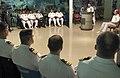 US Navy 060815-N-9851B-005 Commander, Task Force Seven Three (CTG-73) Rear Adm. William Burke, right, looks on as Commander Philippine Fleet, Rear Adm. George T Uy, addresses U.S. and Philippine Navy participants of (CARAT) dur.jpg