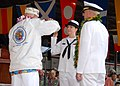 US Navy 071207-N-4965F-010 Cryptologic Technician (Interpretive) 2nd Class Bailey Sharbrough, assigned to Navy Information Operations Command Hawaii, is reenlisted by Pearl Harbor Survivor Woodrow Wilson Derby.jpg