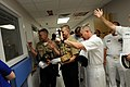 US Navy 090610-N-9818V-235 Master Chief Petty Officer of the Navy (MCPON) Rick West and Sailors participating in Chattanooga Navy Week 2009 wave to a patient at T.C. Thompson Children's Hospital.jpg