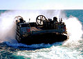 US Navy 090717-N-5538K-012 A landing craft air cushion prepares to enter the well deck of the amphibious transport dock ship USS Denver (LPD 9) during a Talisman Saber 2009 training exercise.jpg