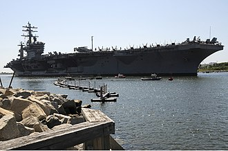 Naval Station Mayport - Image: US Navy 100726 N 2833J 203 The Nimitz class aircraft carrier USS Dwight D. Eisenhower (CVN 69) pulls into Mayport Naval Station to embark friends and family for Tiger Cruise 2010